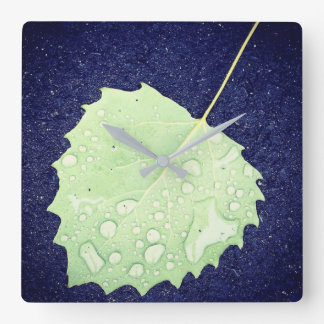 Dewy Leaf Square Wall Clock