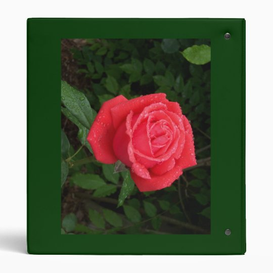 Dewy Red Rose Binder