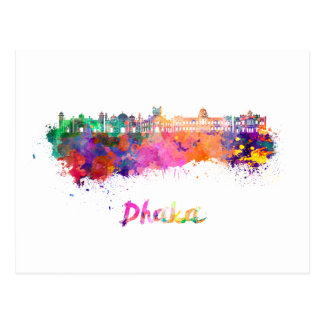 Dhaka skyline in watercolor postcard