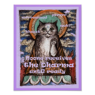 Dharma Cat Four Noble Truths Poster