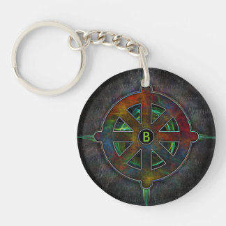Dharma Spirit Wheel of Energy Double-Sided Round Acrylic Keychain