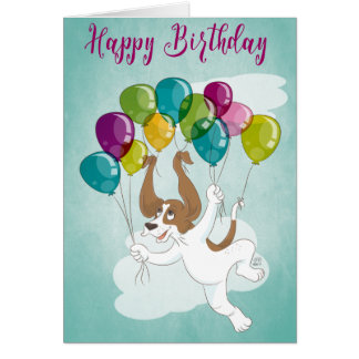 Dharma the Basset Hound Happy Birthday Balloons Card
