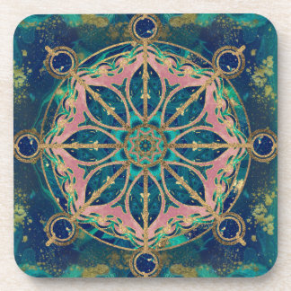 Dharma Wheel - Dharmachakra Gemstone & Gold Coaster