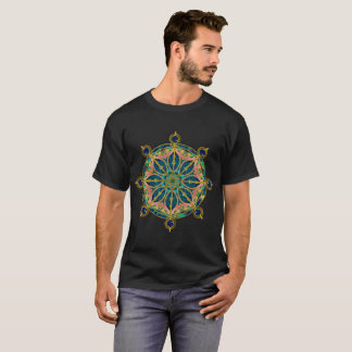 Dharma Wheel - Dharmachakra Gemstone & Gold T-Shirt
