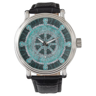 Dharma Wheel - Dharmachakra Silver and turquoise Watch