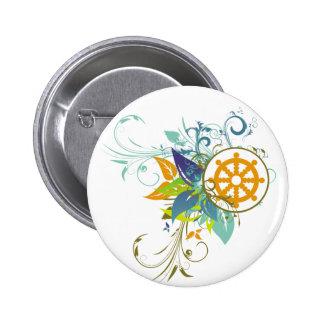 Dharma Wheel Floral Button