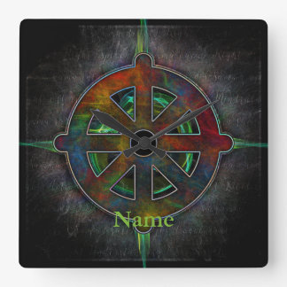 Dharma Wheel of Energy Square Wall Clock
