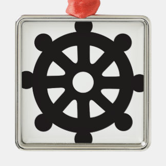 "Dharmacakra, Dharmachakra, ""Wheel of Dharma"" Silver-Colored Square Ornament"