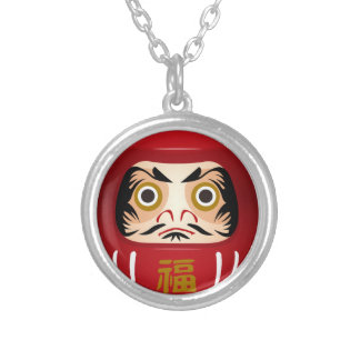 dharuma doll silver plated necklace