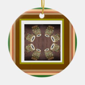 DHOLAK Drum used in folk dances of India Round Ceramic Ornament