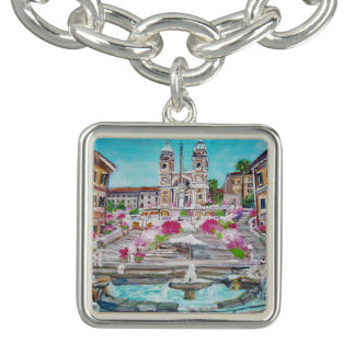 Di Spagna -  Square Charm Bracelet, Silver Plated