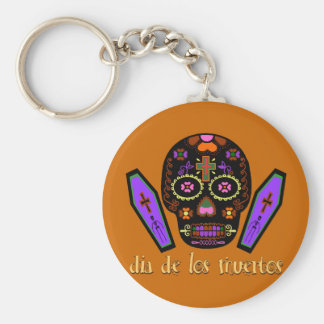 Dia De Los Muertes - Orange Basic Round Button Keychain