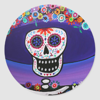 Dia de los Muertos Catrina by Prisarts Round Sticker