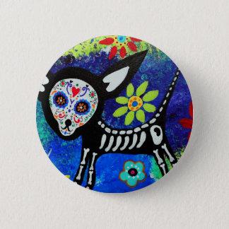 Dia de los Muertos Chihuahua 2 Inch Round Button