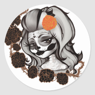 Dia de los muertos classic round sticker