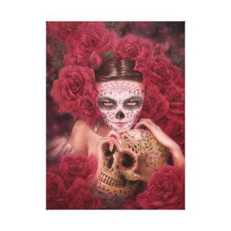 Dia de los Muertos Dark Art Canvas Print
