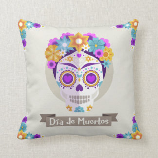 Dia de los Muertos Day of the Dead skull mask Throw Pillow
