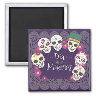 Dia de los Muertos Day of the Dead skull masks Square Magnet