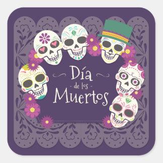 Dia de los Muertos Day of the Dead skull masks Square Sticker