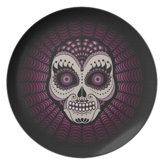 Dia de los Muertos decorative spiderweb skull Plate