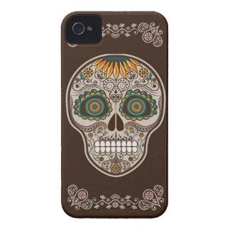 Dia de los Muertos decorative sunflower skull Case-Mate iPhone 4 Cases