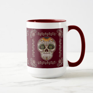 Dia de los Muertos decorative sunflower skull Mug
