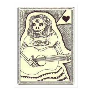 Dia de Los Muertos Girl with Guitar Postcard