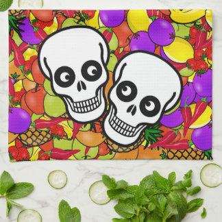 Dia De Los Muertos - Happy Couple W/Fruit Kitchen Towel