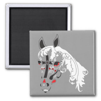 dia de los muertos horse square magnet