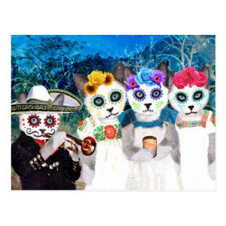 Dia De Los Muertos Kittens Postcard