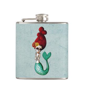 Dia de Los Muertos Lovely Mermaid Gal Hip Flask