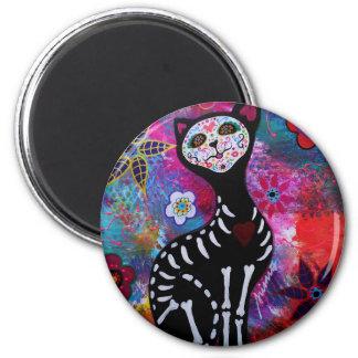 Dia de los Muertos Meow Cat by Prisarts 2 Inch Round Magnet