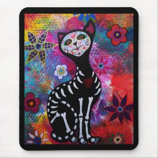 Dia de los Muertos Meow Cat by Prisarts Mouse Pad