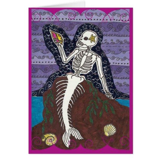 Dia de Los Muertos Mermaid Card