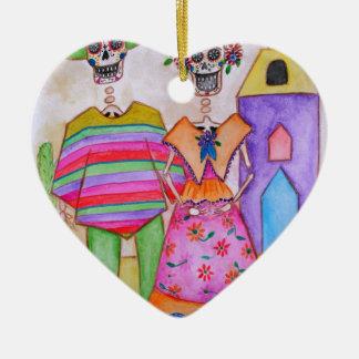 DIA DE LOS MUERTOS MEXICAN COUPLE ARTIST CERAMIC HEART ORNAMENT