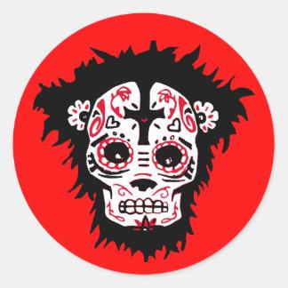 dia de los muertos monkey round sticker