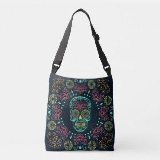 Dia de los Muertos Neon Floral Skull Body Bag