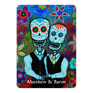 DIA DE LOS MUERTOS NOVIOS COUPLE WEDDING CARD