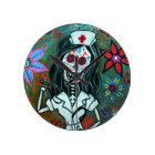 Dia de los Muertos Nurse RN painting Round Clock