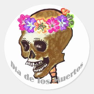 Dia de Los Muertos or Halloween Round Sticker