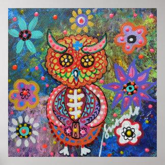 Dia de los Muertos Owl Poster