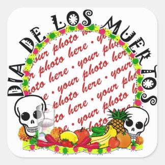 Dia De Los Muertos Photo Frame Square Sticker