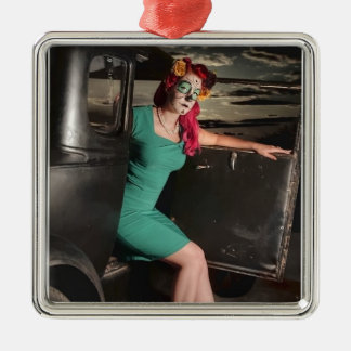 Dia de los Muertos Pin Up Girl Day of the Dead Metal Ornament
