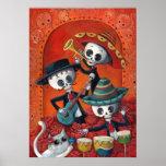 Dia de Los Muertos Skeleton Mariachi Trio Poster