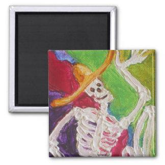 Dia De Los Muertos Skeleton Square Magnet
