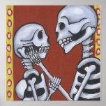 Dia de los Muertos Skeletons in Love Canvas Print