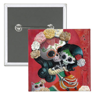 Dia de Los Muertos Skeletons Mother and Daughter 2 Inch Square Button
