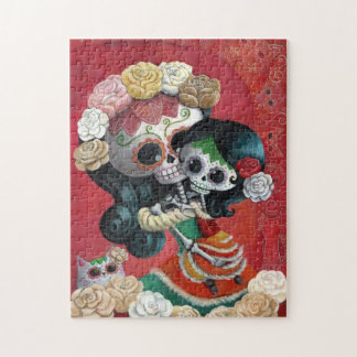 Dia de Los Muertos Skeletons Mother and Daughter Jigsaw Puzzle