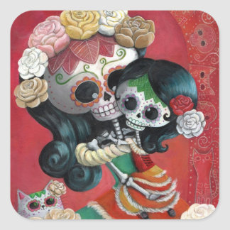 Dia de Los Muertos Skeletons Mother and Daughter Square Sticker