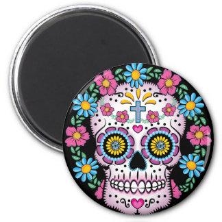 Dia de los Muertos Skull 2 Inch Round Magnet